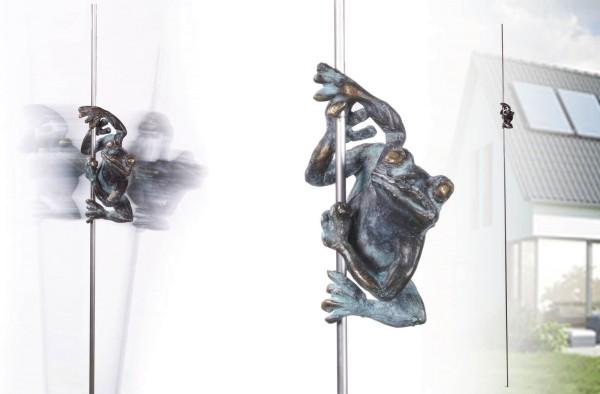 Frosch Bronze Skulptur an Edelstahlstab