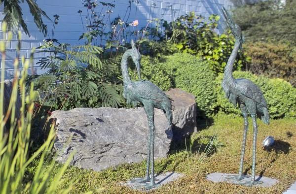 Mittel großes Reiherpaar Bronze Skulptur