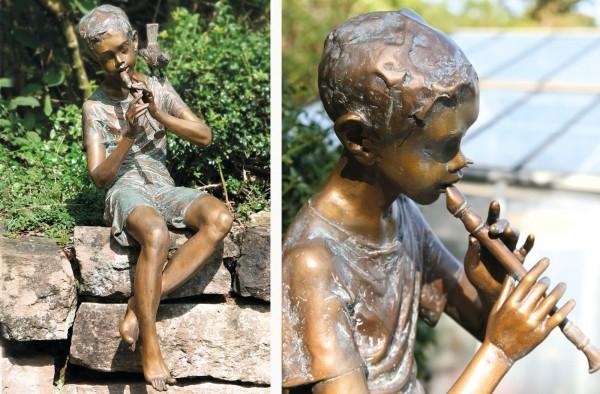 Junge mit Floete Bronze Skulptur