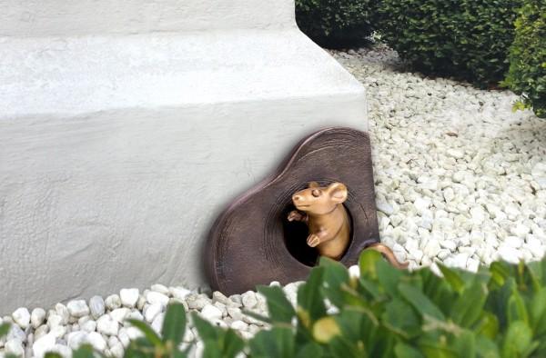 Maus mit Mauseloch Bronze Skulptur