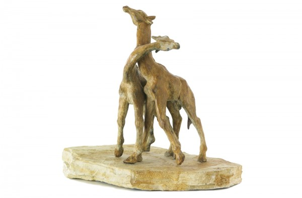 Kaempfende Giraffen Bronze Skulptur