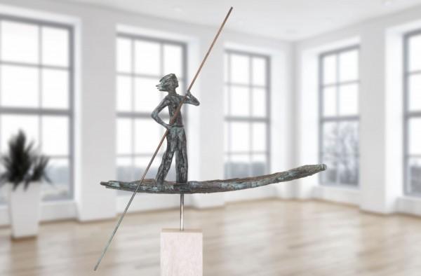 Zu neuen Ufern Bronze Skulptur E. Waehning