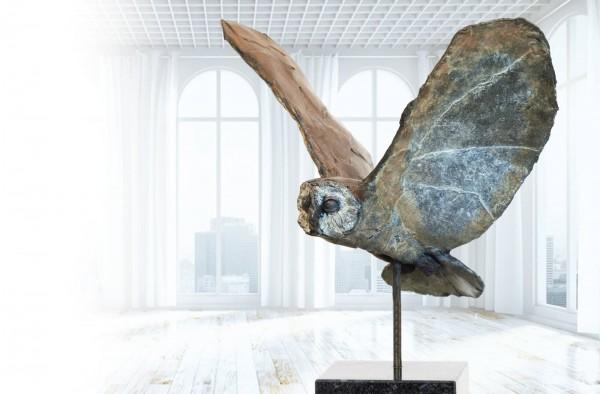 Fliegende Eule Bronze Skulptur R. Zweypfenning