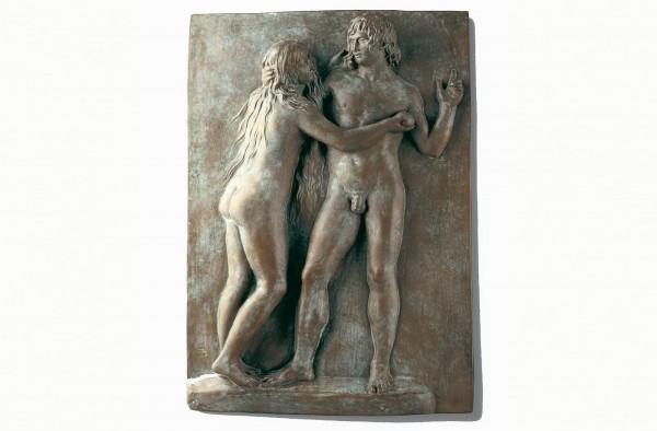 Adam und Eva Bronze Wandrelief Skulptur