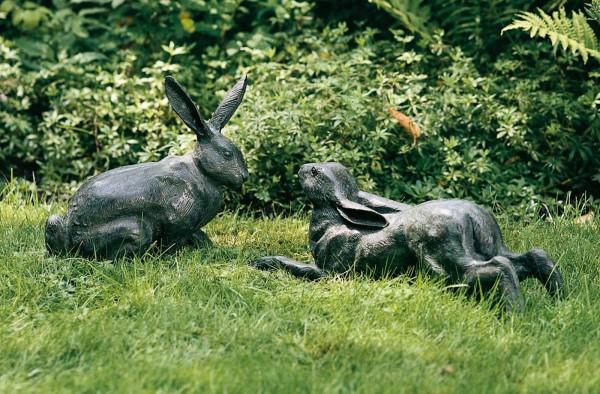 Skulptur Bronze Hasenpaar