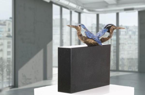 Eisvogelpaar Bronze Skulpturen Gruppe
