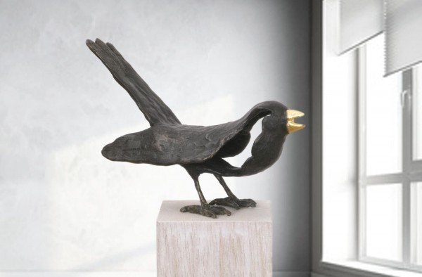 Singende Amsel Bronze Skulptur E. Waehning