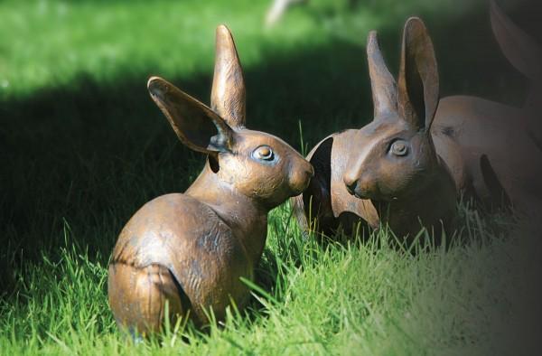 Hase Bronze Skulptur