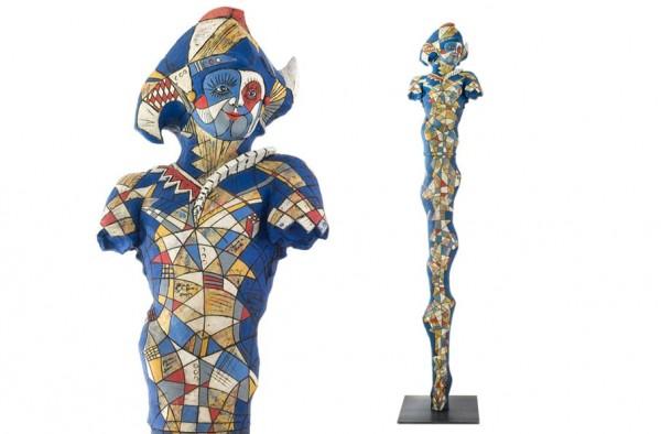 Der große Harelekin Keramik Skulptur