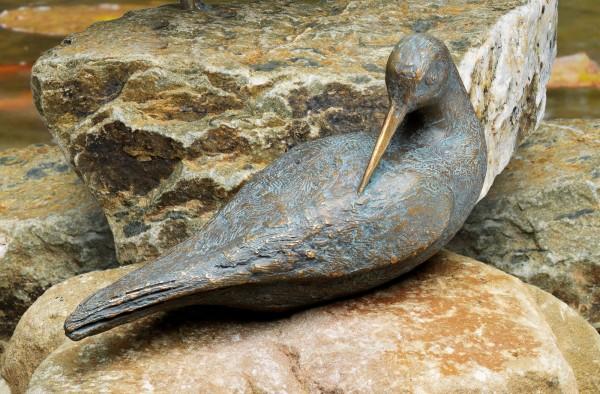 Putzender Wasserlaeufer Bronze Skulptur