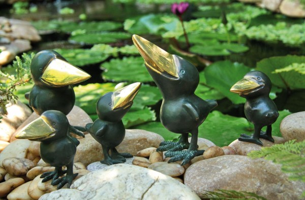 Raben Familie Bronze Skulpturen Gruppe