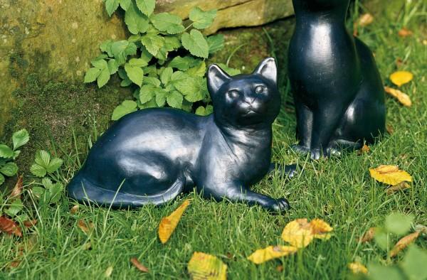 Liegende Katze Kupfer Skulptur