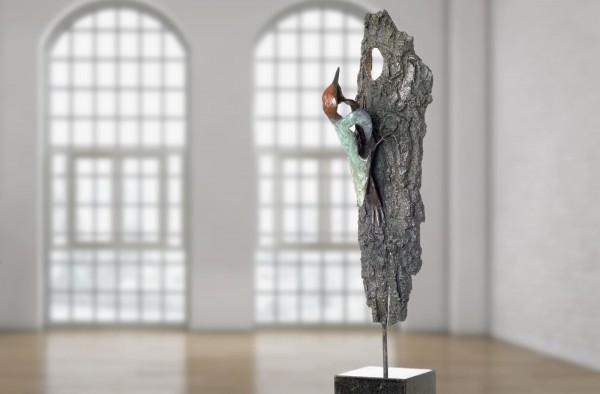 Gruenspecht Bronze Skulptur E. Waehning