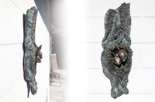 Eichhoernchen Bronze Wand Skulptur