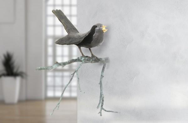 Amsel auf Ast Bronze Wand Skulptur