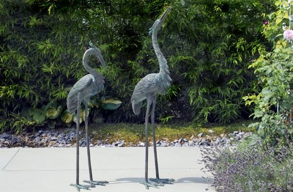 Großes Reiherpaar Bronze Skulptur