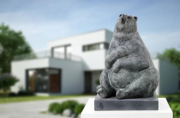 Glücklicher Baer Bronze Skulptur N. Brandt