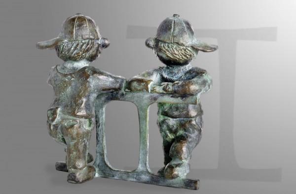 Zwillinge Sternkreiszeichen, limitierte Bronze-Skulptur von E. Wähning