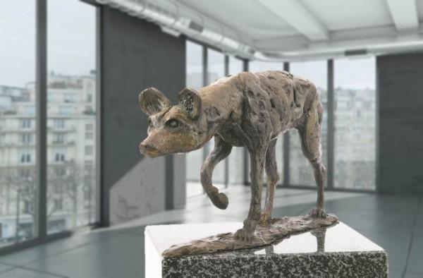 Wildhund Bronze Skulptur V. de Voogt