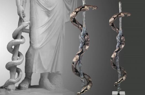 Der Äskulapstab, limitierte Bronze Skulptur von E. Wähning