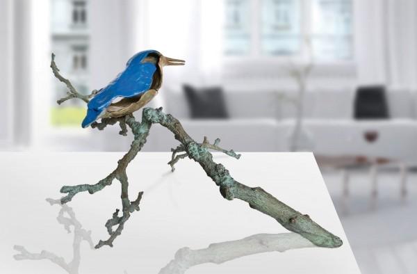 Eisvogel auf Ast Bronze-Skulptur