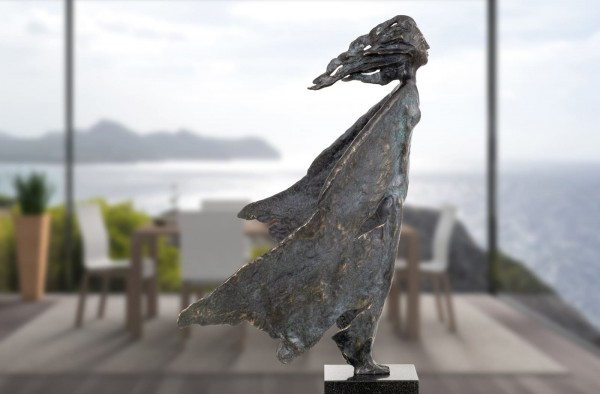 Windfrau Bronze Skulptur E. Waehning