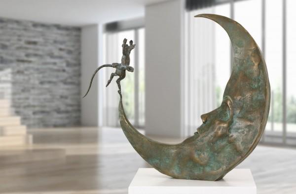 Tanz mit dem Mond Bronze Skulptur A. Boulloche